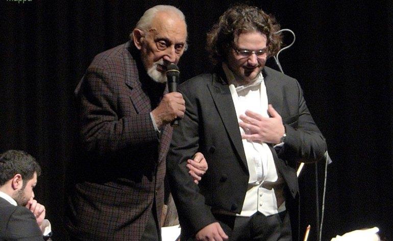 Enrico De Mori e Francesco Mazzoli al termine del Concerto sinfonico di Natale, Teatro Ristori, Verona