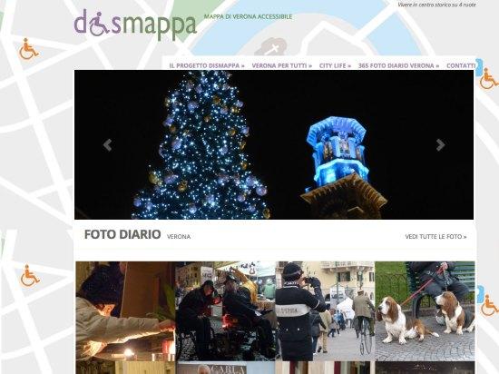 il sito dismappa per Verona accessibile con il layout grafico utilizzato negli anni 2013-2014