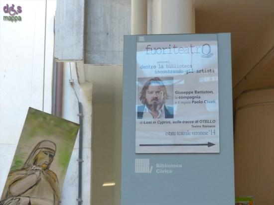 Foto manifesto fuoriteatro dell'incontro con la compagnia di Lost in Cyprus sulle tracce di OTELLO: Giuseppe Battiston, Paolo Civati, Federica Sandrini