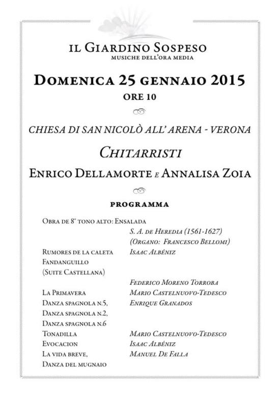 Giardino sospeso programma concerto Verona