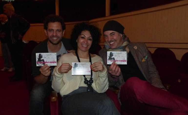 Gabriele Pignotta, Siddhartha Prestinari e Fabio Avaro, regista e cast della commedia Mi piaci perché sei così, testimoni di accessibilità per dismappa