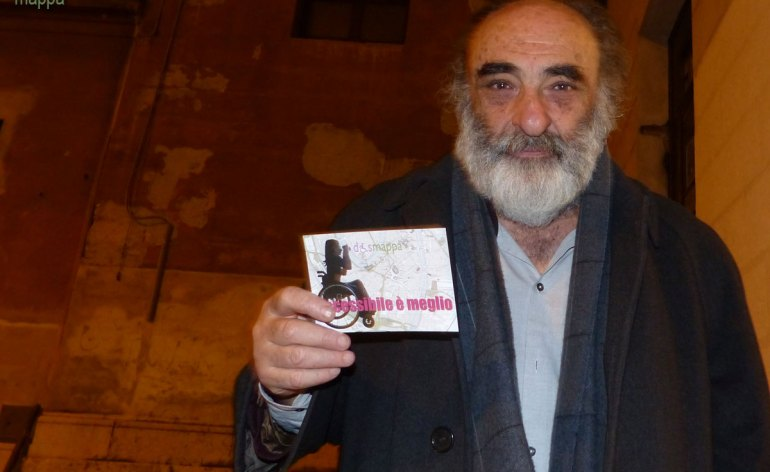 L'attore Alessandro Haber, in questi giorni al Teatro Nuovo di Verona con Il Visitatore, testimone di accessibilità per dismappa