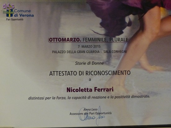 Attestato di riconoscimento del Comune di Verona per Nicoletta Ferrari dell'Associazione dismappa per Verona accessibile
