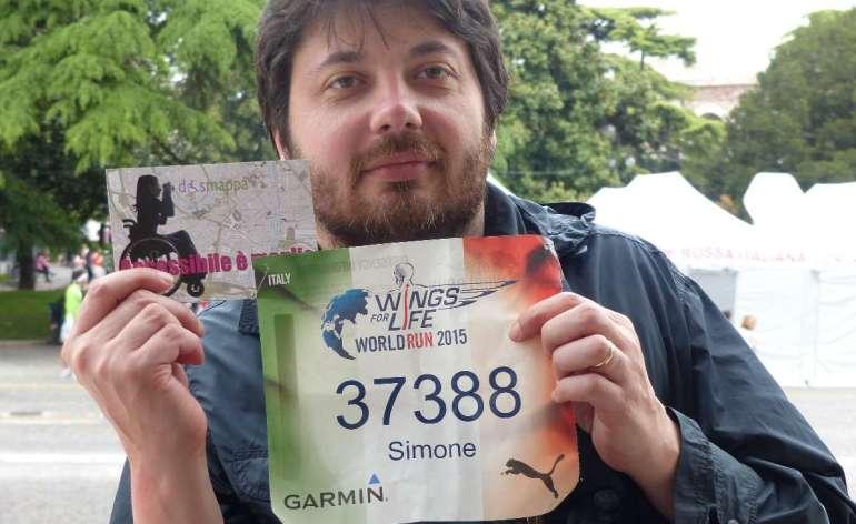 Simone Fanti, giornalista (Io donna, Invisibili), testimone di accessibilità per dismappa alla Wings for Life World Run a Verona