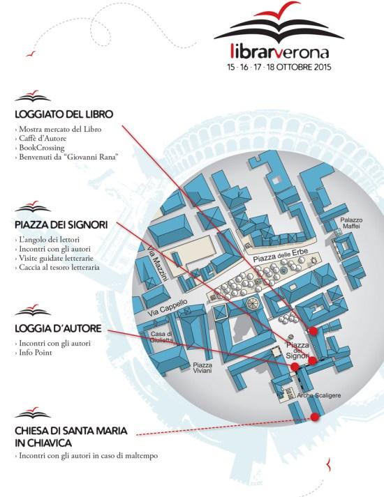 Mappa dei luoghi di LibrarVerona 2015, gli organizzatori assicurano che quest'anno saranno tutti resi accessibili con apposite rampe per le sedie a rotelle