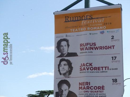 20160524 Rumors Festival 2016 Verona dismappa Completa la sezione musica la rassegna Rumors - Illazioni vocali giunta alla quarta edizione. A inaugurarla (il 2 giugno) è il cantautore canadese Rufus Wainwright. Il 17 giugno Jack Savoretti e il 18 giugno Neri Marcorè (assieme allo Gnu Quartet) propone uno spettacolo dedicato a Fabrizio De Andrè.