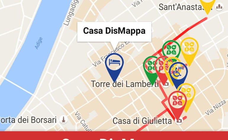 Nella app Verona Smart & Easy, disponibile da gennaio 2017, Casa disMappa è la prima - e al momento unica -offerta di accoglienza per il turismo accessibile a Verona. L'accessibilità di Casa disMappa per chi si muove in carrozzina manuale è stata testata lo scorso luglio dal responsabile del progetto Global Accessibility.