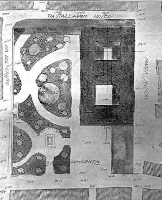 Pianta del Palazzo delle Poste e della sistemazione delle vie adiacenti (da G. Fassio 1927)