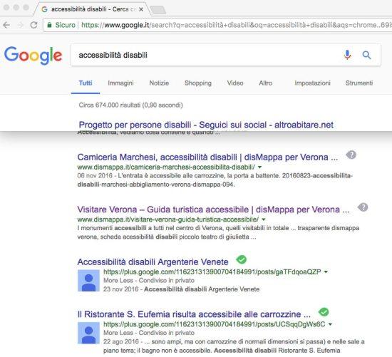 Risultati ricerca google accessibilità disabili dismappa