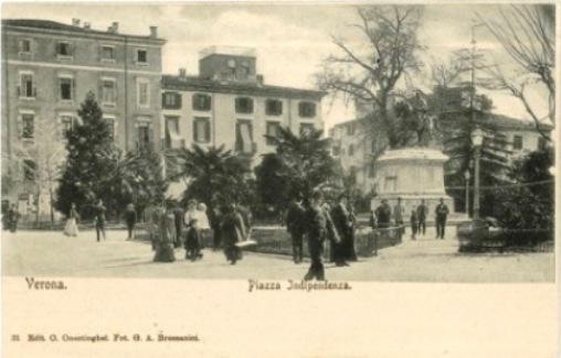 Giardini di Piazza Indipendenza e monumento a Giuseppe Garibaldi in una cartolina vintage di Verona