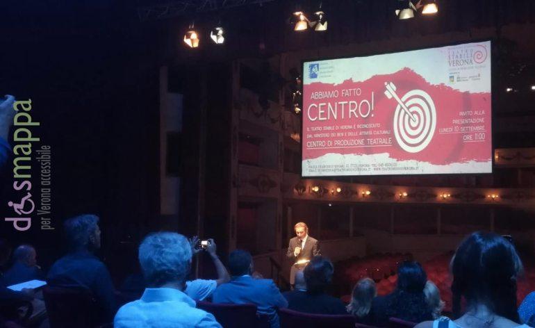 """Lo scorso luglio il Teatro Stabile di Verona ha ottenuto dal Ministero per i Beni e le Attività Culturali il riconoscimento di Centro di Produzione Teatrale. Avere ottenuto questo titolo, che già nel nome rivela la funzione di punto di riferimento culturale, è un importante risultato non solo per il Teatro Nuovo, ma per l'intera città di Verona intendendo il teatro proprio nell'accezione di """"luogo d'incontro"""" di un'intera comunità."""