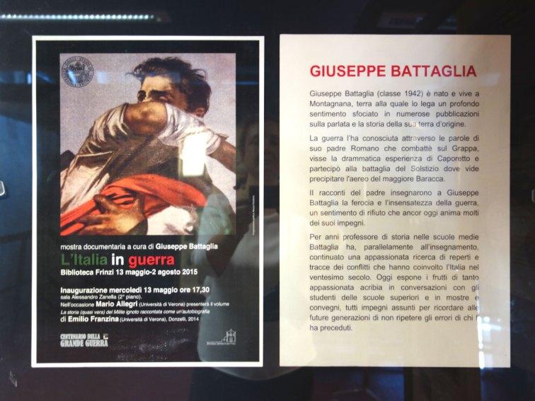 La locandina e la biografia di Giuseppe Battaglia curatore della mostra