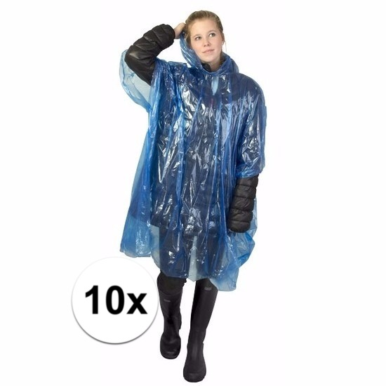 10x blauwe wegwerp regencapes