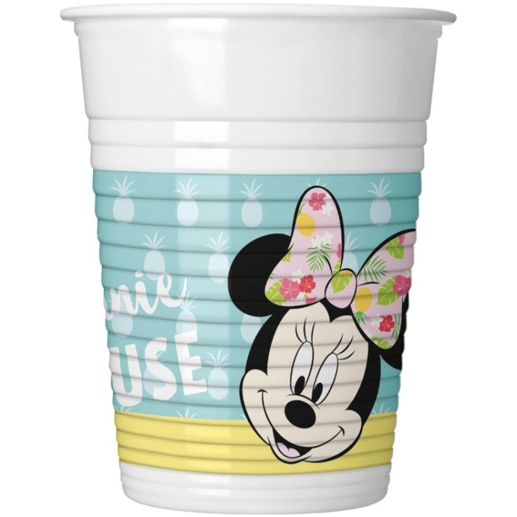 16x Disney Minnie Mouse tropical themafeest bekers 200 ml