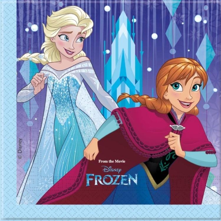 20x Frozen blauw/paars themafeest servetten 33 x 33 cm