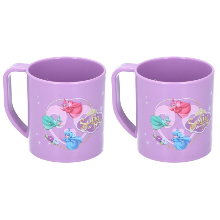 2x Prinses Sofia Disney mokken onbreekbare drinkbekers paars