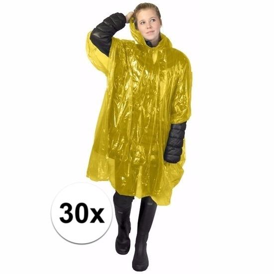 30x gele wegwerp regencapes