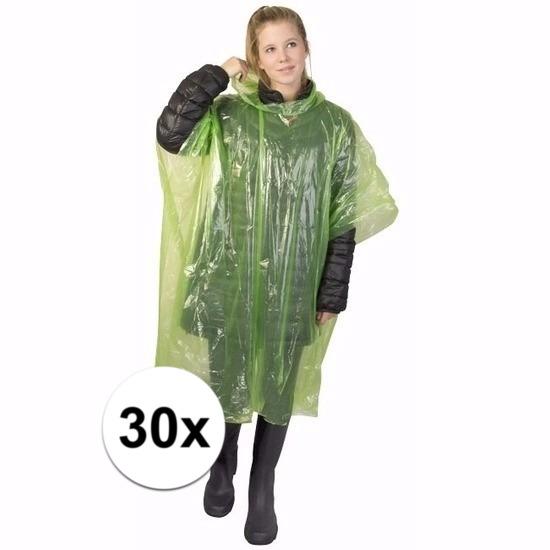 30x groene wegwerp regencapes