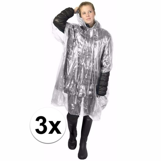 3x transparante wegwerp regencapes