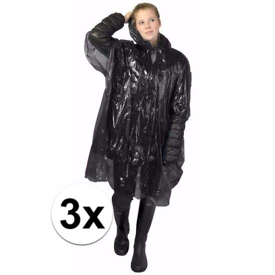 3x zwarte wegwerp regencapes