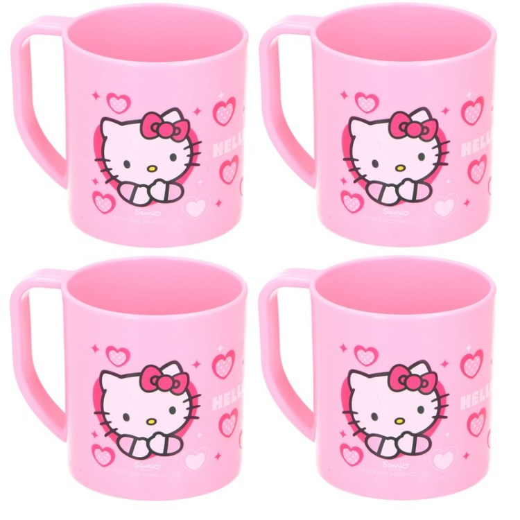 4x Hello Kitty Disney mokken onbreekbare drinkbekers lichtroze