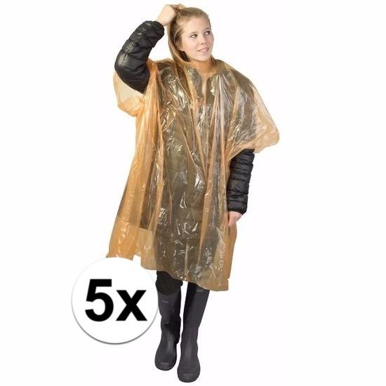 5x oranje wegwerp regencapes