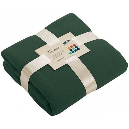 Fleece deken/plaid donkergroen 130 x 170 cm