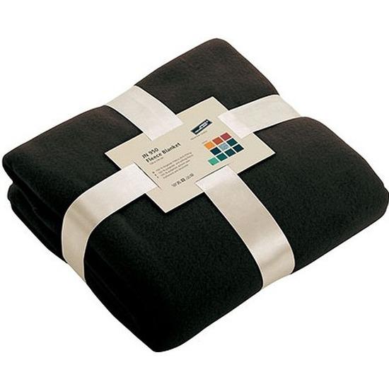 Fleece deken/plaid zwart 130 x 170 cm