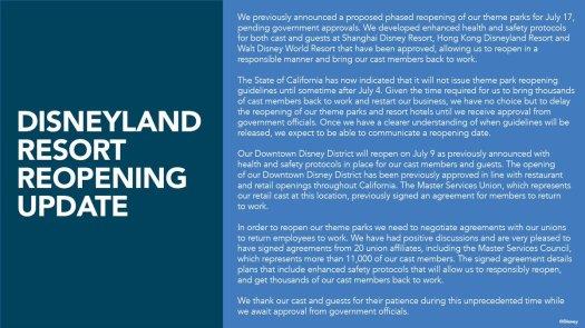 Disneyland Resort Reopening Update