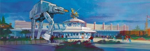 Konzeptzeichnung für Star Tours in Euro Disneyland