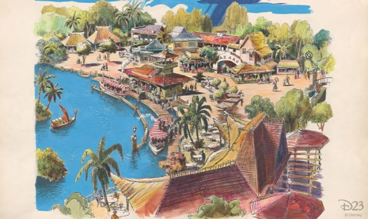 A Harper Goff rendering of Adventureland used to help pitch the concept of Disneyland