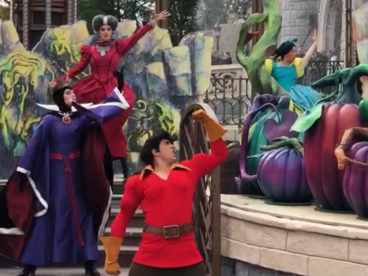 Villains Lady Tremaine, Evil Queen and Gaston at Disneyland Paris for Halloween