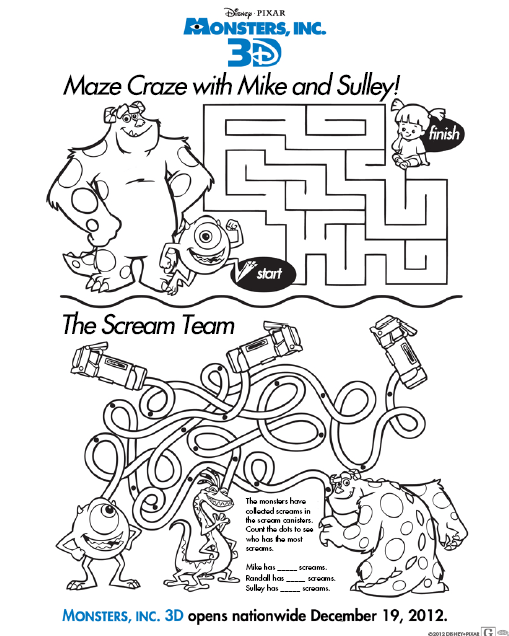 Disney Monsters Inc 3D Activity and Coloring Sheets