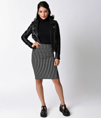 retro_style_black_white_pinstripe_high_waist_pencil_skirt
