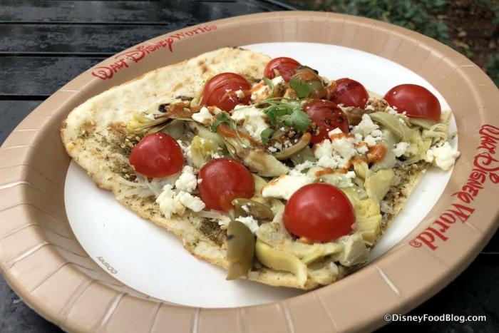 Mediterranean Flat Bread with Zaatar, Olive Oil Artichoke, Olives, Mozzarella and Feta Cheese