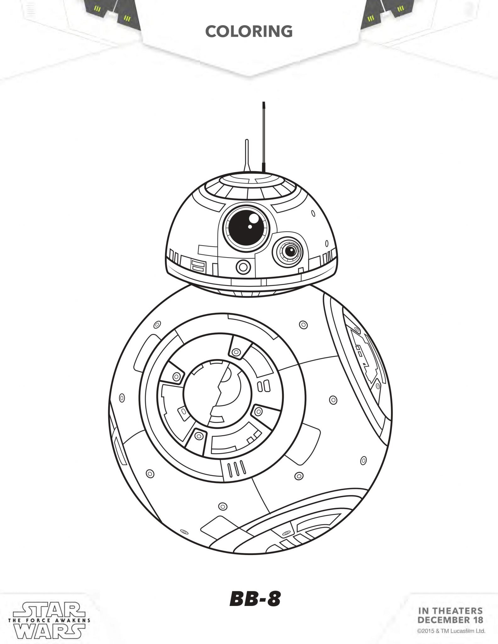 FREE Download Star Wars The Force Awakens Coloring Sheets