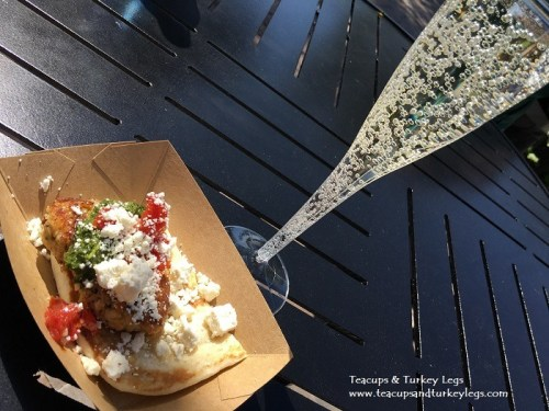 """Vegetable and White Bean """"Naanwich"""" and Avive Natural Peach Sparkling Wine"""