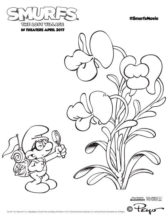 Smrurf Coloring Page - Brainy and Kissing Plants (