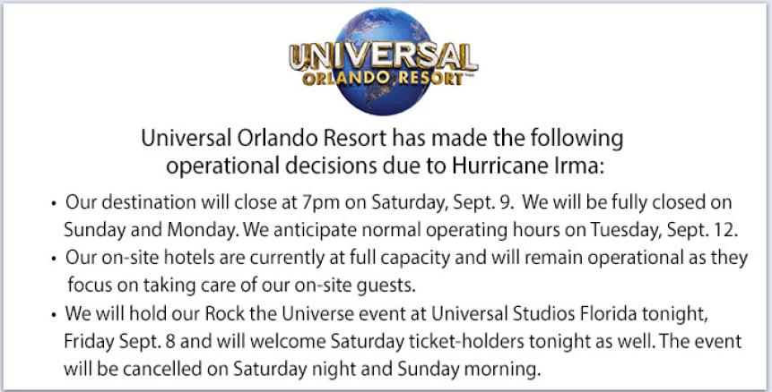 Universal Orlando Hurricane Irma