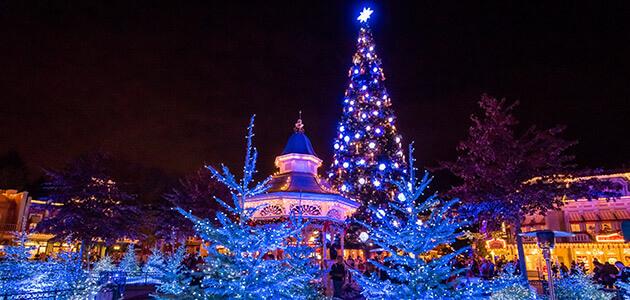 Christmas tree and decorations on Main Street, U.S.A. in Disneyland Paris
