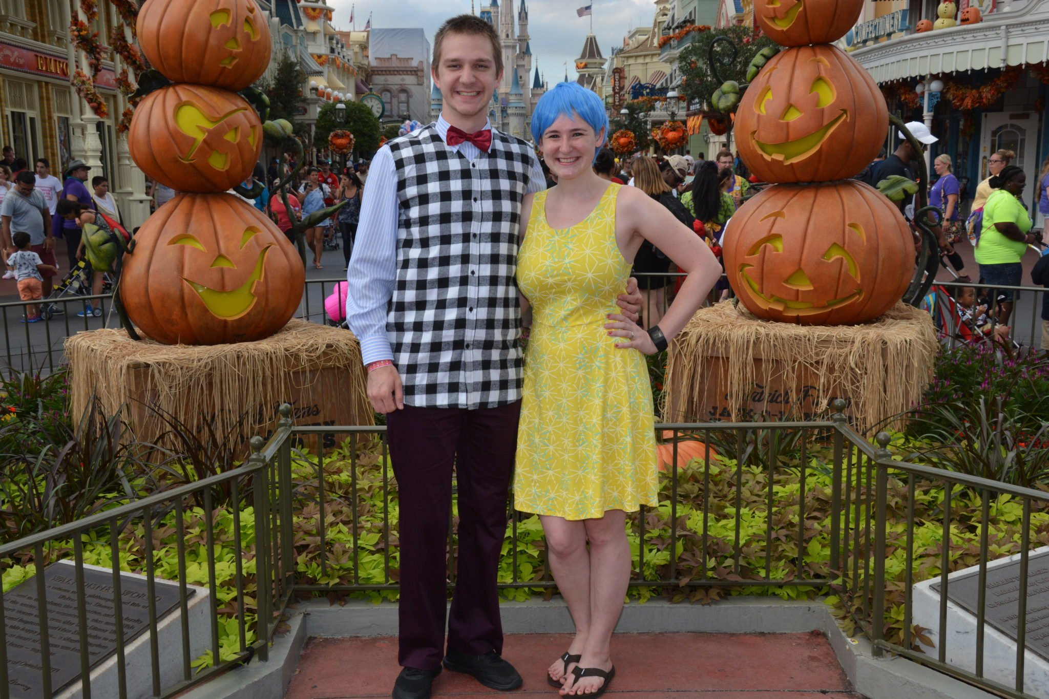 adults at not so scary halloween party disney in your day
