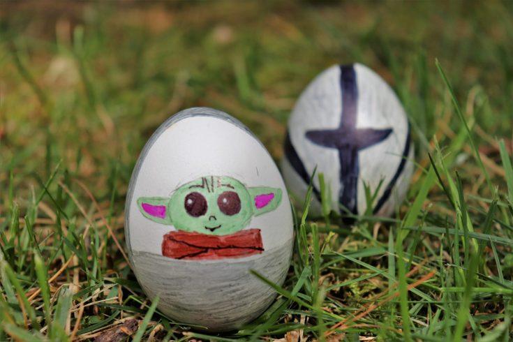 DIY baby yoda Easter eggs