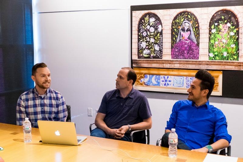 Alonso Martinez, Nick Rosario y Christian Hoffman animadores de Coco
