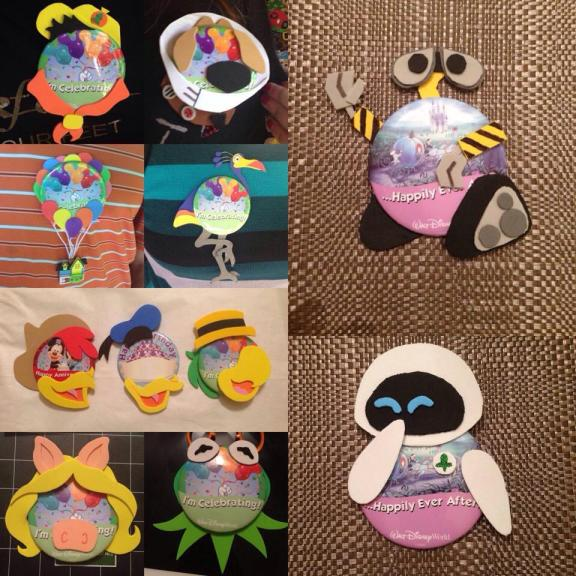 Pin-Heads from Up, The Three Caballeros, The Muppets, and Wall-E