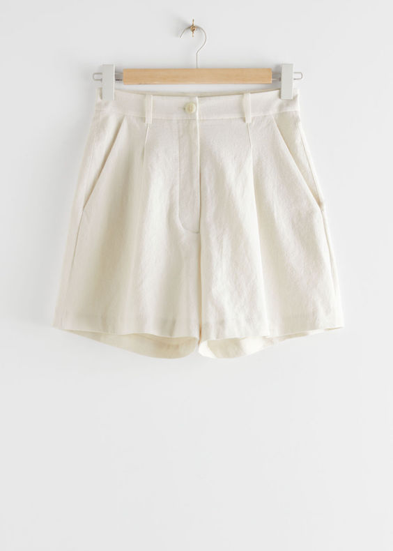 & Other Stories high waist linen blend shorts ss20