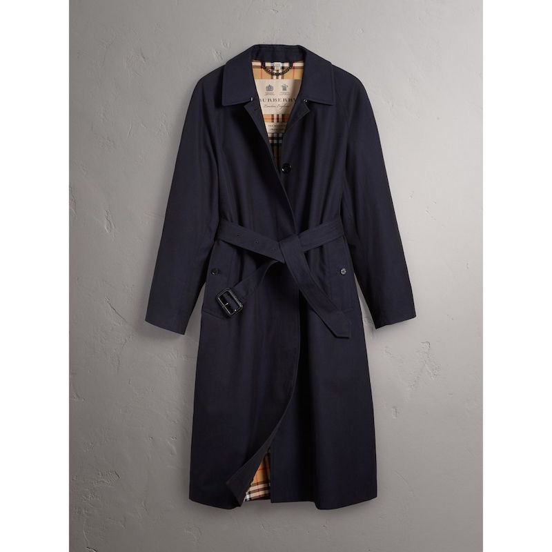 Burberry Brighton extra long car coat in Blue Carbon