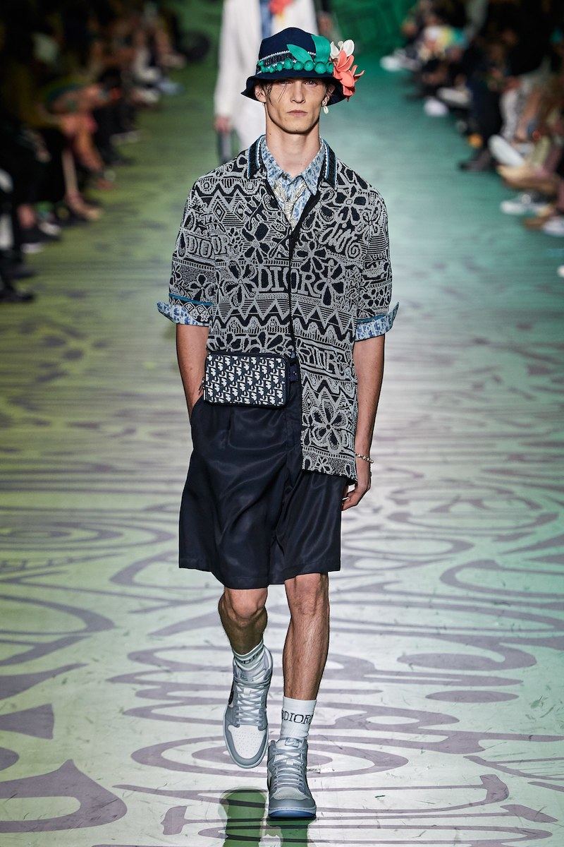 Dior Shawn Stussy pre fall 2020 hand beaded camp shirt Vogue Runway