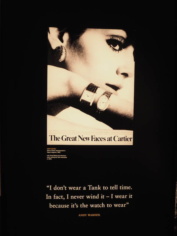 Andy Warhol quote on cartier Watch at Cartier in Motion exhibition
