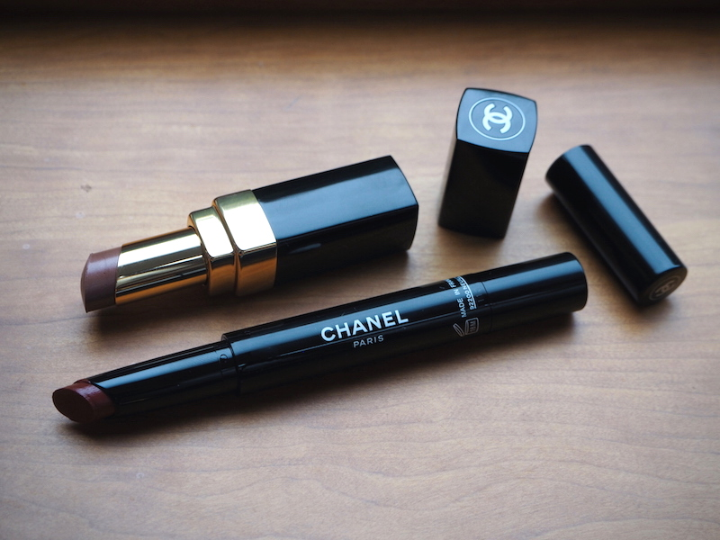 Chanel Rouge Coco Shine Golden Sand lipstick and Rouge Coco Stylo 207 Sepia