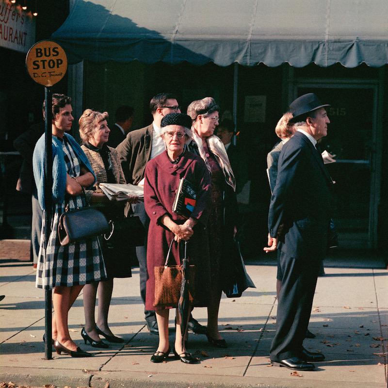 American Voyage Mario Carnicelli Bus stop, Washington, 1966